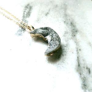 Druzy Quartz Sparkle Moon Necklace